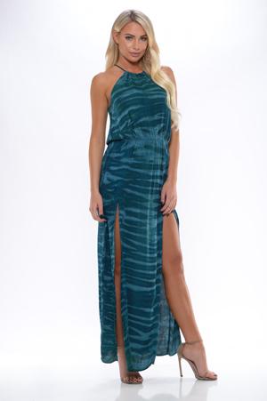 8424ccf953d96 Blue Life - 2 Slit Halter Dress - Santorini Sea - Brynn & Rochelle