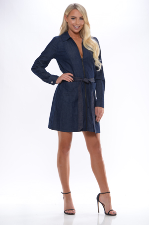 2d3ecca3fd 7 For All Mankind - Long Sleeve Zip Front Belted Denim Dress - Brynn ...